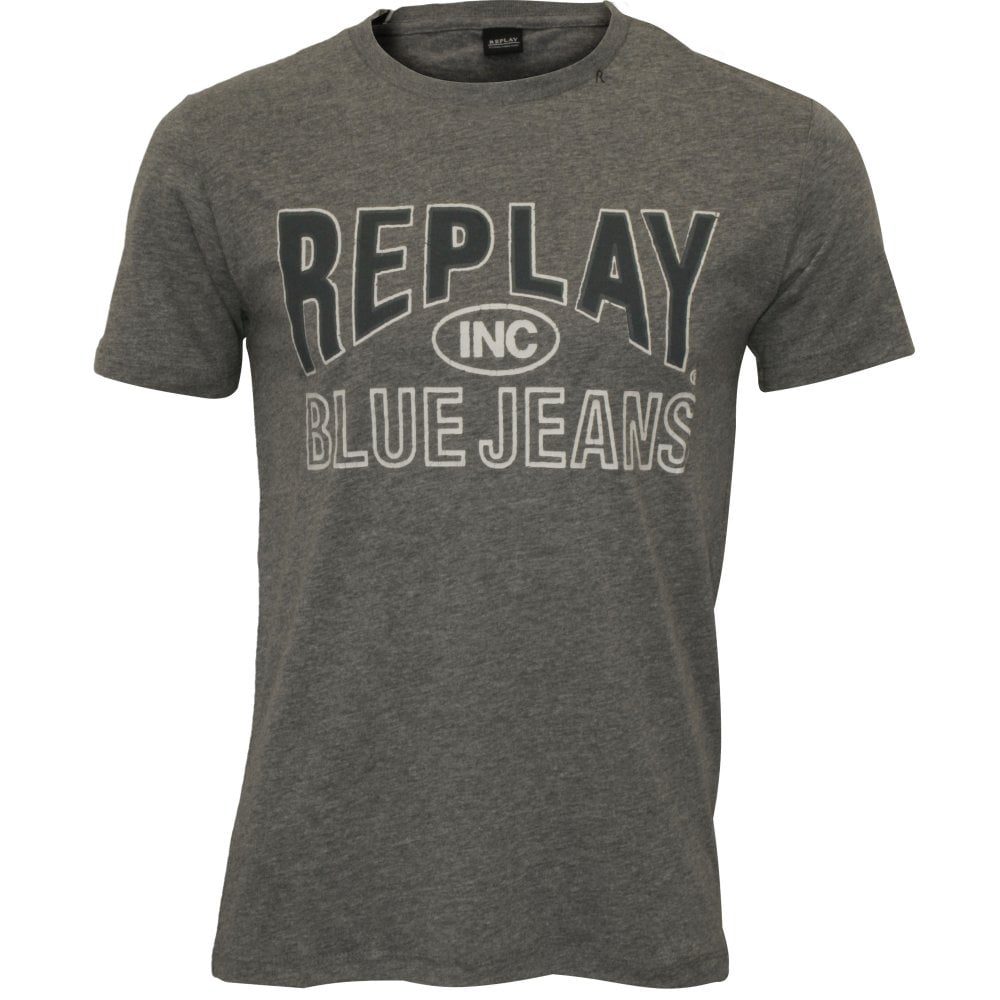 Replay Pure Cotton Crew-Neck Men/'s T-Shirt Grey Melange