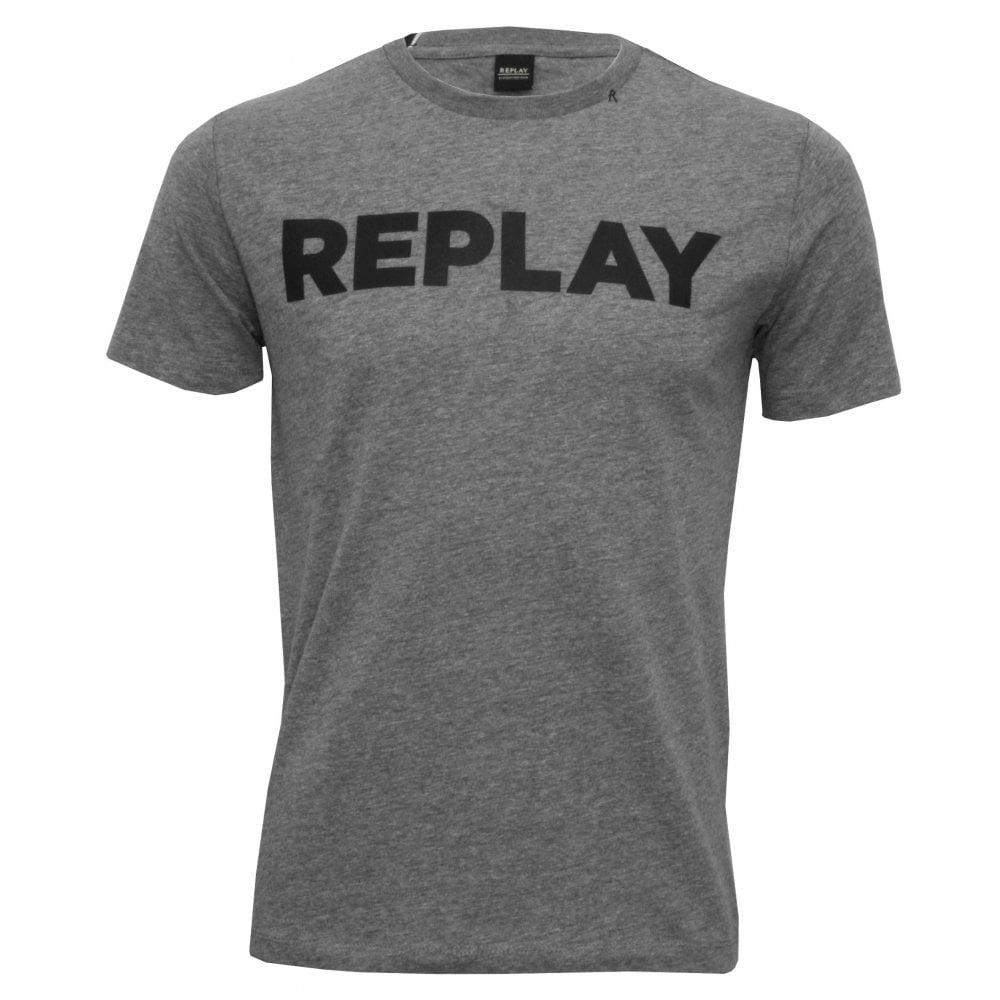 5e8db7dd Replay Bold Logo T-Shirt, Grey Melange | Replay mens t-shirts | UnderU