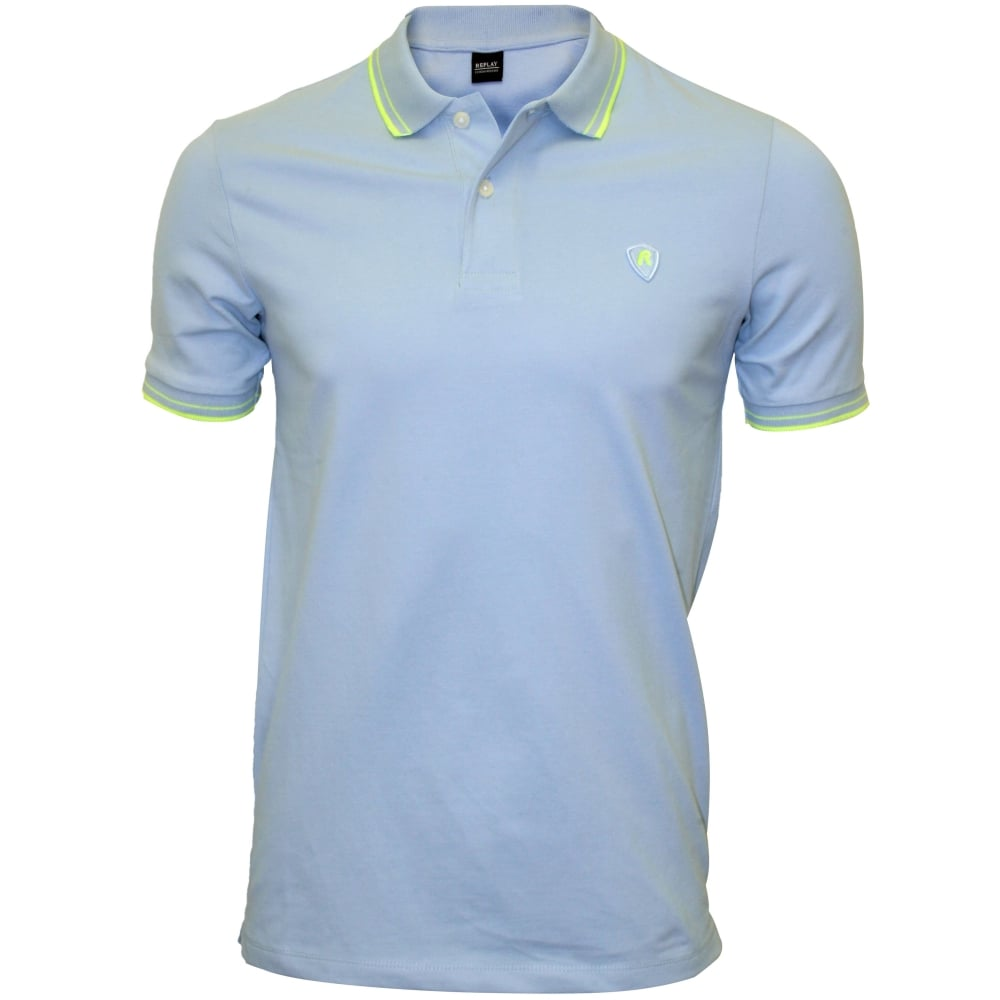302de4c5d Replay Colour Contrast Polo Shirt, Blue | Replay polo shirts | UnderU