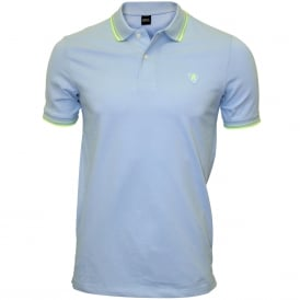 Colour Contrast Polo Shirt, Light Azure