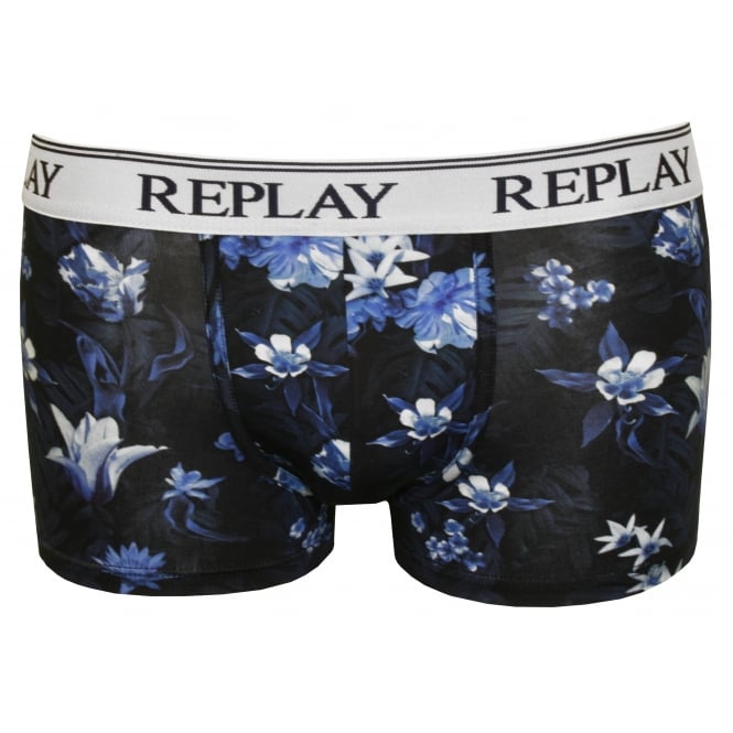 Replay Digital Floral Print Boxer Trunk, Navy/Blue