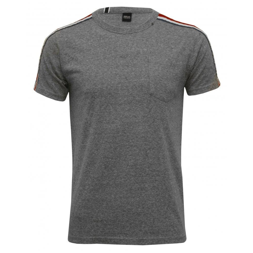 692a1f1c Replay Retro Logo Tape T-Shirt, Grey | Replay men's t-shirts | UnderU