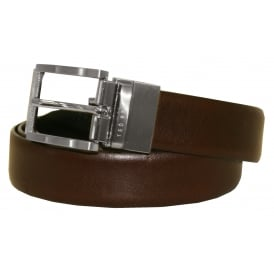 Reversible Textured Leather Belt, Chocolate