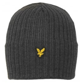 Ribbed Lambswool Beanie Hat, Mid Grey Marl