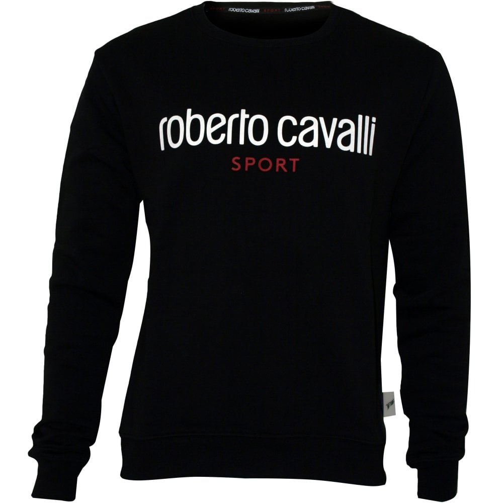 Roberto Cavalli Sport Logo Crew-Neck Men/'s T-Shirt Black