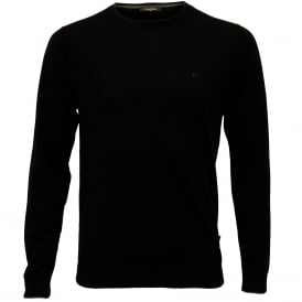 Saul Crew-Neck Ribbed Knit Sweater, Black