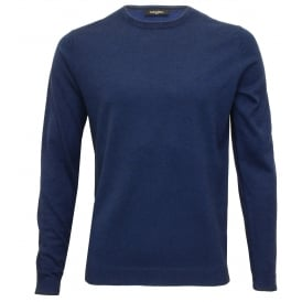 Saul Crew-Neck Ribbed Knit Sweater, Cobalt Blue