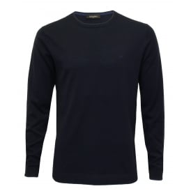 Saul Crew-Neck Ribbed Knit Sweater, Navy