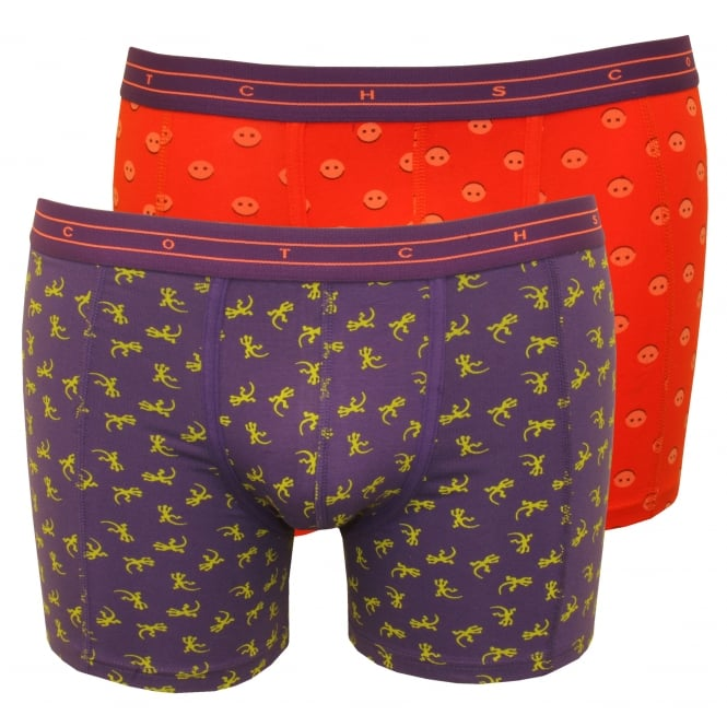 Scotch & Soda 2-Pack Animal Print Boxer Briefs Gift Set, Coral/Purple