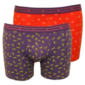 2-Pack Animal Print Boxer Briefs Gift Set, Coral/Purple