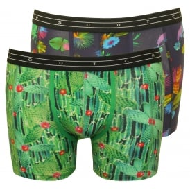 2-Pack Floral Print Boxer Briefs Gift Set, Navy/Green