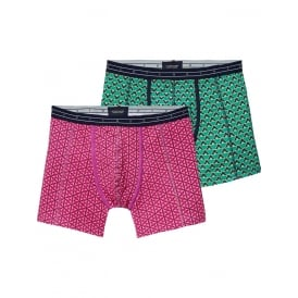 2-Pack Geometric Print Boxer Briefs Gift Set, Pink/Green