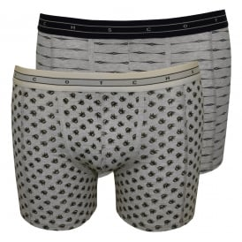 2-Pack Lines/Feathers Print Boxer Briefs Gift Set, Light Grey Melange