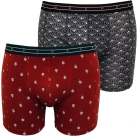 2-Pack Stunning Geo Print Boxer Briefs Gift Set, Burgundy/Navy