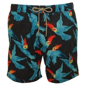 All-over Parakeet Print Swim Shorts, Navy/Blue