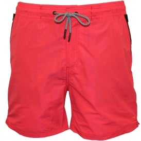 Classic Two-Tone Swim Shorts, Coral with navy