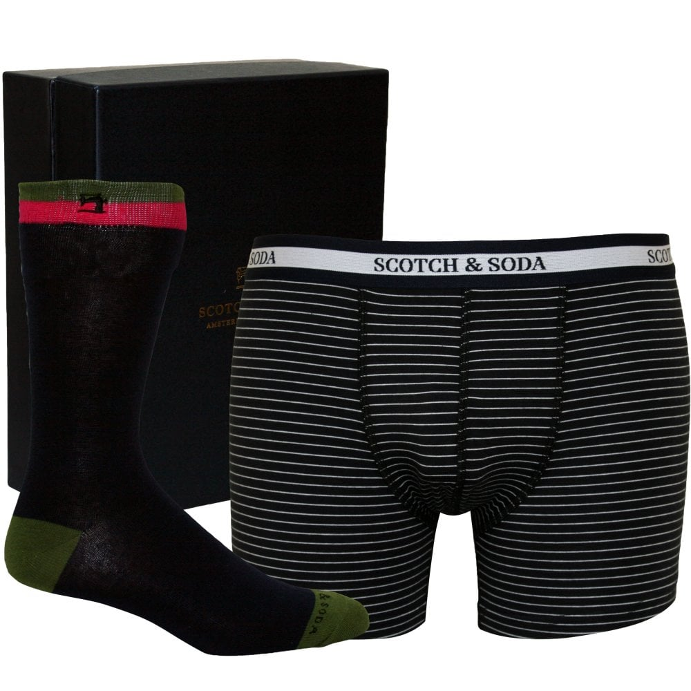 Men/'s Luxury Gift Box Set with Striped Boxer Briefs and Jacquard Socks Navy//Blue