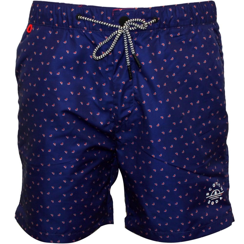 327a071833 Scotch & Soda Mini Geo Pattern Classic Swim Shorts Blue/coral | UnderU