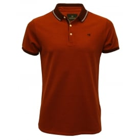 Premium Pique Polo Shirt, Coral with burgundy trim