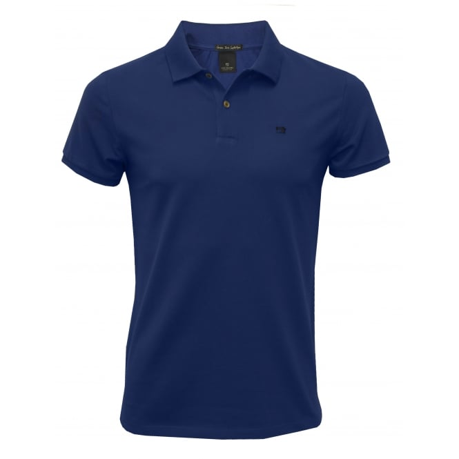 Scotch & Soda Premium Pique Polo Shirt, Royal Blue