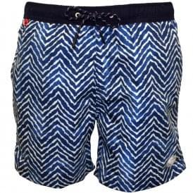 349b502736 Two-tone Wavy Line Print Swim Shorts, Blue · Scotch & Soda ...