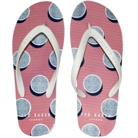 Shadow Stones Print Rubber Flip Flops, White/Purple