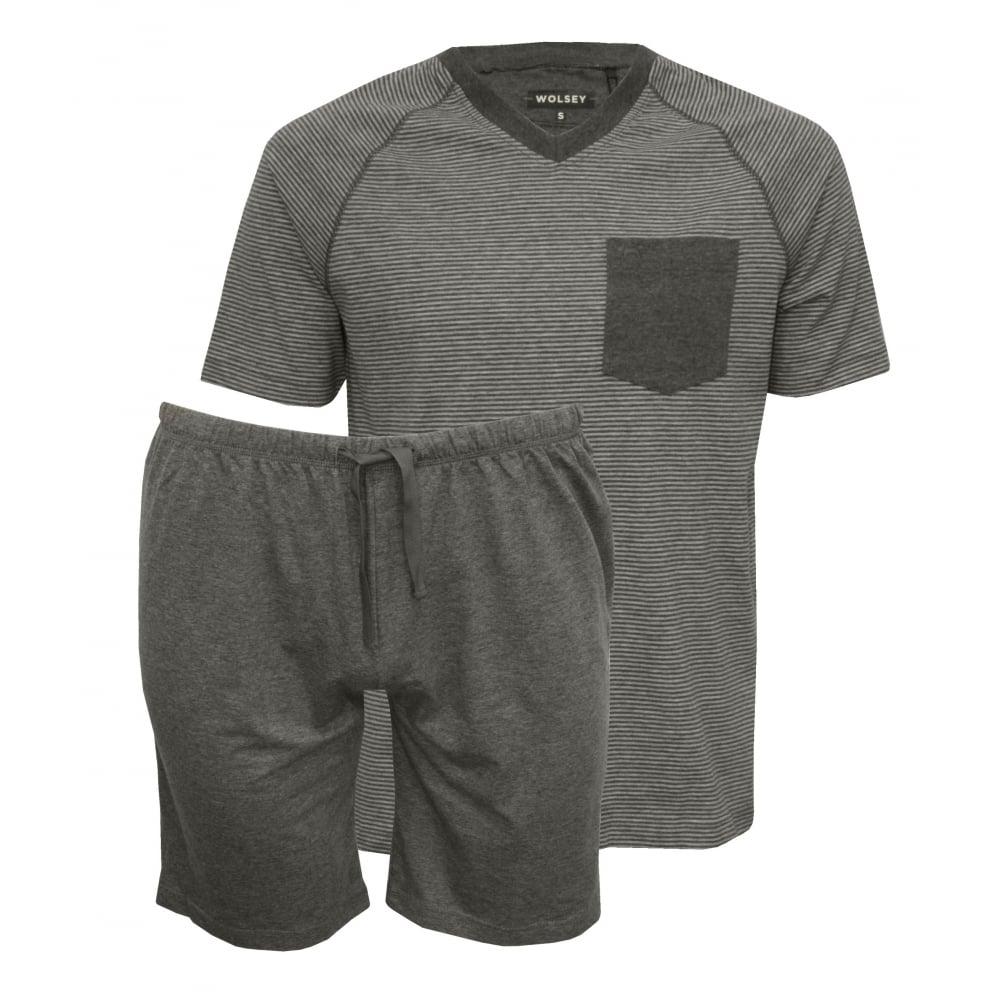Wolsey jersey stripe t shirt shorts pyjama set grey T shirt and shorts pyjamas
