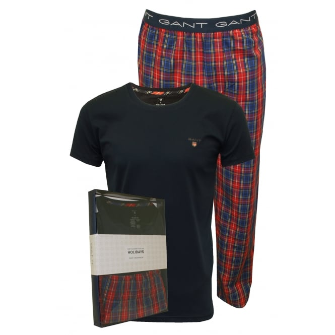 Gant Short-Sleeve & Woven Checked Pyjama Set Gift Box, Red/Navy