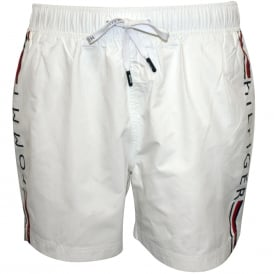 Side Logo Athletic-cut Swim Shorts, White