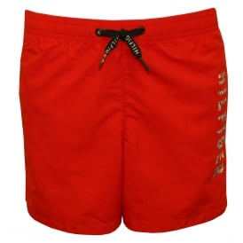 Side Logo Print Boys Swim Shorts, Red
