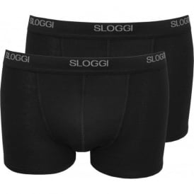 2-Pack Basic Short Boxer Trunks, Black