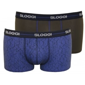 2-Pack Start Geo Print Hipster Boxer Trunks, Blue/Charcoal