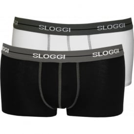 2-Pack Start Hipster Boxer Trunks, Black/White