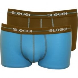 2-Pack Start Hipster Boxer Trunks, Turquoise/Khaki