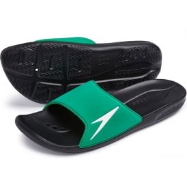 Atami II Pool Slider Sandals, Black / Fluo Green