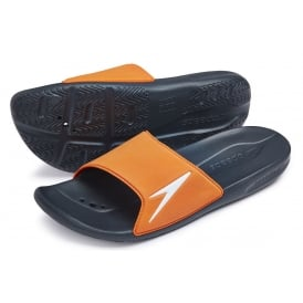 Atami II Pool Slider Sandals, Oxide Grey / Neon Orange