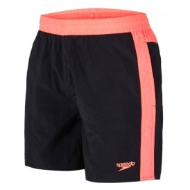 "Colour Block 16"" Swim Shorts, Black / Psycho Red"