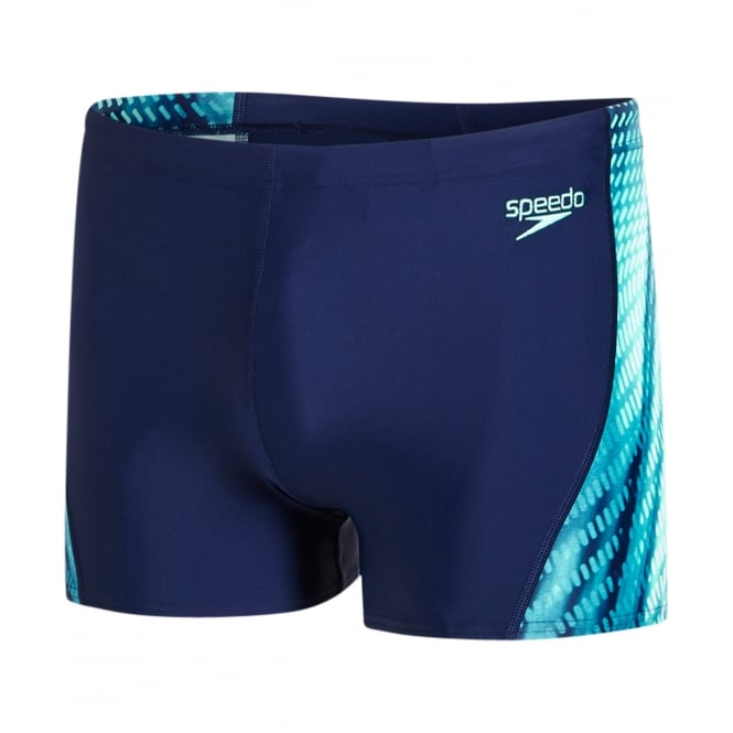 Speedo Placement Curve Panel Endurance10 Aqua Short, Navy / Green Glow / White