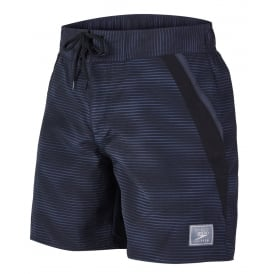 "Retro Leisure 16"" Swim Shorts, Marlinwave Black/Grey"