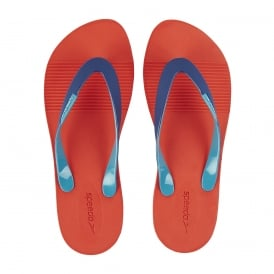 Saturate II Thong Flip Flops, Lava Red with blue