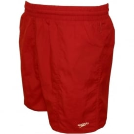 Solid Leisure Swim Shorts, Fed Red