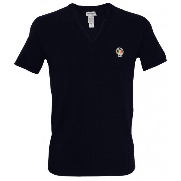 Dolce Gabbana Sport Crest Deep V Neck T Shirt Navy