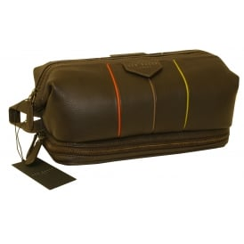 Striped Detail Leather Frame Washbag, Chocolate
