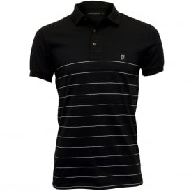 Striped Pique Polo Shirt, Navy/white