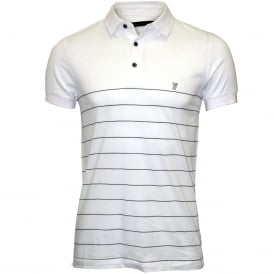 Striped Pique Polo Shirt, White/navy