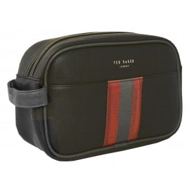 Striped Webbing Washbag, Black