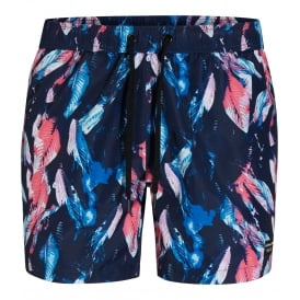Stunning Digital Leaf Print Swim Shorts, Navy/multi