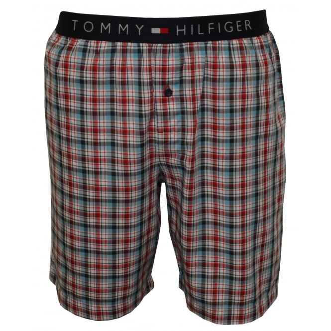 Tommy Hilfiger Summer Check Woven Lounge Shorts, Red/White/Blue
