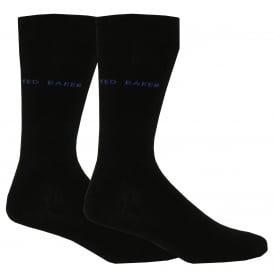 2-Pack Plain Organic Cotton Socks, Black