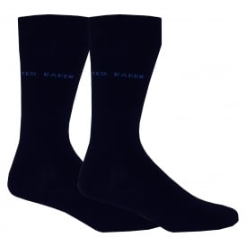 2-Pack Plain Organic Cotton Socks, Navy
